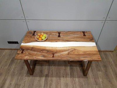 Стол из слэба ореха и белого полимера